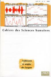 Cahiers ORSTOM sér. Sci. hum., vol. 31, n° 1,  BARRETEAU Daniel (éditeur) - Traitement et emploi des langues. Nouvelles techniques, nouvelles applications