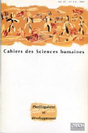 Cahiers ORSTOM sér. Sci. hum., vol. 27, n° 3-4, CHARMES Jacques (éditeur scientifique) - Plurilinguisme et développement