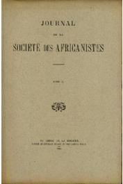 Journal de la Société des Africanistes - Tome 10 - fasc. 1-2 - 1940