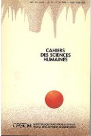 Cahiers ORSTOM sér. Sci. hum., vol. 24, n° 3 (1988)