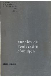 Annales de l'Université d'Abidjan Série F, Tome 3