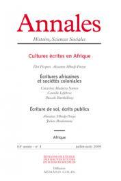 Annales - Histoire, Sciences Sociales / 64e année - n° 4 - Cultures écrites en Afrique