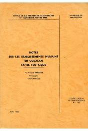 BRASSEUR Gérard - Notes sur les établissements humains en oudalan voltaique