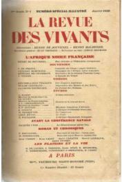 La Revue des Vivants - 4e année ; n° 01 - L'Afrique noire française