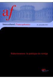 Interculturel Francophonies - 23 - Raharimanana: la poétique du vertige