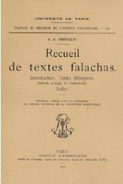 AESCOLY Aaron Zéeb - Recueil de textes Falachas. Introduction. Textes éthiopiens (édition critique et traduction). Index