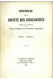 Journal de la Société des Africanistes - Tome 40 - fasc. 1 - 1970, GALLAY Alain - La poterie en pays sarakolé (Mali, Afrique occidentale)