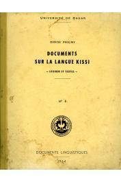 PAULME Denise - Documents sur la langue Kissi. Lexique et textes