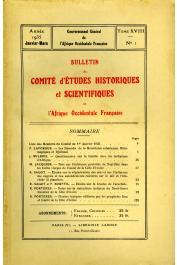Bulletin du comité d'études historiques et scientifiques de l'AOF - Tome 18 - n°1 - Janvier-Mars 1935