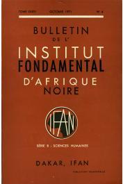 Bulletin de l'IFAN - Série B - Tome 33 - n°4 - Octobre 1971